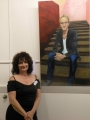 Artist Janis Lander and her portrait of David Hitching