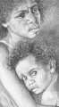 "Kim  Bennett, ""Aboriginal Mother and Child\"" , 2001 , Graphite , Approx 60 x 80 cms"