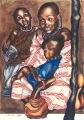 """Kim Bennett, """"Masai Mother and Children"""" , 1995 , Mixed media , Approx 120 x 80 cm"""
