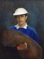 "Grace  Costanzo, \""Self Portrait In Blue\"" , 1997 , Oil , 30"" x 24"""