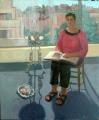 Jeanette  Korduba , Grace Costanzo in my studio , 2005 , Oil , 122cm x 102cm  Finalist 2005 Portia Geach Memorial Art Prize