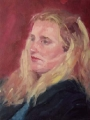 "Lynette  Mitchell, \""Pensive\"" , 2003 , Oil , 16"" x 20"""