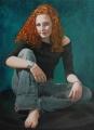 """White fire in denim"", oil, 105x77cm, fox mildwaters portrait"