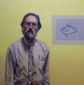 Greg Somers, Self portrait with the picture of dory in grey. Oil on canvas. Life size