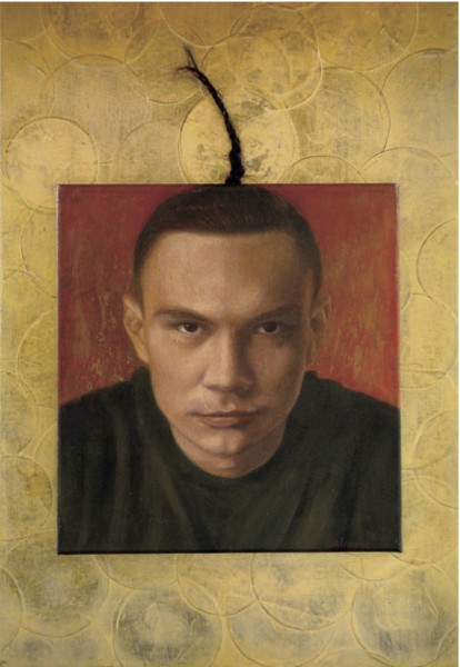 "artist - Yoli Salmona -  ""Kosta Tszyu Icon"" 2001 (oil/canvas, collage on board)"
