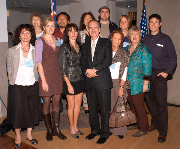 "The 2005 opening of the ""PAA International Macquarie Exhibition"" at the Embassy of Australia in Washington DC. L to R - Janis Lander, Julie Ballis, Embassy staff, Jiawei Shen, Nafisa Naomi, Yoli Salmona, Marc Pachter, Director of the National Portrait Gallery in Washington, Evert Ploeg, Constance Farquharson, Kerry McInnis, Robyn Ross, Paul Newton."