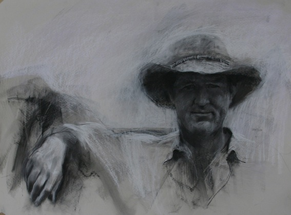 Artist Kerry McInnis - 'Chris Smith' charcoal and conte_2005_35x18cm-1