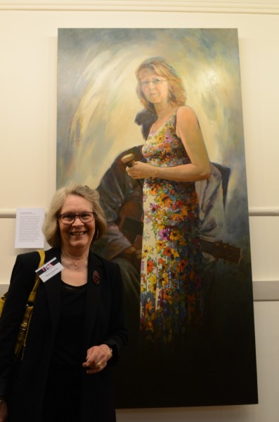 Helen Edwards with her portrait of Raelene Sharp 2014