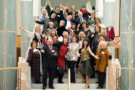 "The artists on the staircase of Federal Parliament House in Canberra, at the opening of ""Unsung Heroes"" 2011 - photo Craig Peihope."
