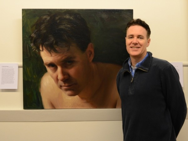 Paul Newton with self portrait, PAA exhibition Melbourne 2014