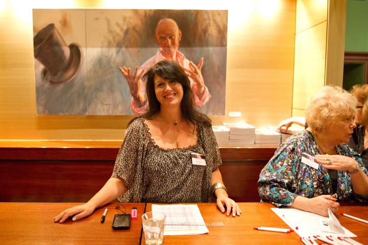 Rosa Fedele and Judith Stevens selling copies of The Artists' Book at the 2012 Book Launch at the Arthouse Hotel in Sydney.