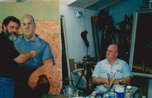 Bob Baird painting the Australian poet Les Murray.