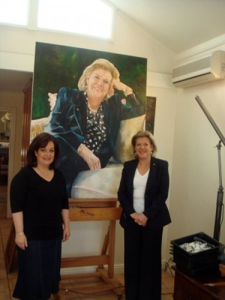Vivian Falk with her sitter Rosleyn Packer