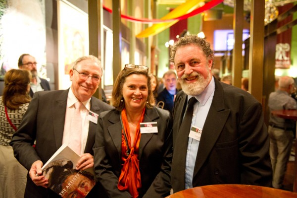 Fiona Knox flanked by artists Peter Smeeth and Bob Baird, at the PAA book Launch 2012