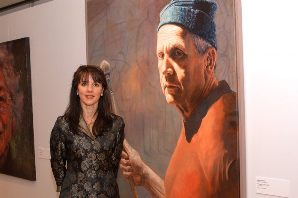 Nafisa in Washington DC 2005 with her painting of Zofrea.