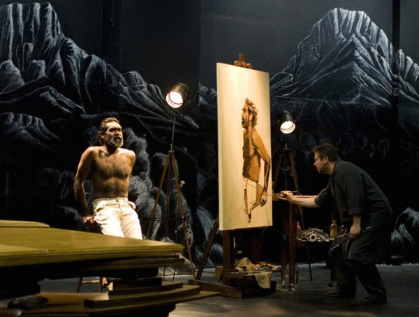 "Evert Ploeg painting the actor Trevor Jamieson onstage in the production ""Namatjira"" for Big Hart Productions, 2012."