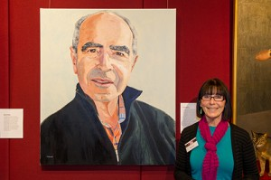 Val Lander with her portrait of  Paolo Totaro 2013