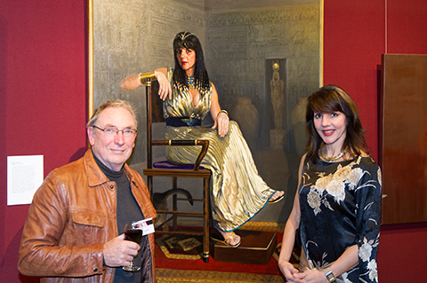 Peter Smeeth with his portrait of Nafisa as Cleopatra at the 2013 PAA exhibition NSW Parliament House