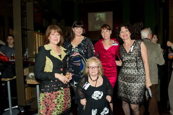Robyn Werkhoven at the PAA Book Launch 2012 - behind her are artists Doffy White, Elizabeth Bardon, Kathrin Longhurst, and Janis Lander