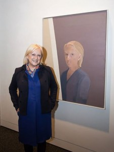 Sinead Davies with her self portrait at the 2014 Portia Geach Memorial Award