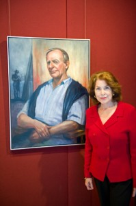 Margot Freimann with her portrait of Alan Somerville 2011