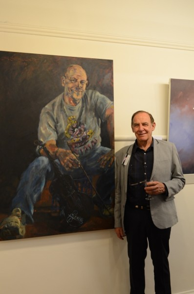Alan Somerville and his painting at the PAA Exhibition, Victorian Art Society 2014