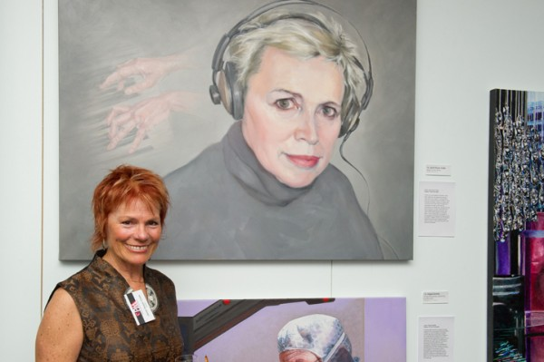 Janet Hoyer Cobb with her portrait of Yantra de Vilder, PAA exhibition 2012