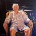 Peter Engel, James Savoulidis, Canberra Restaurateur, Acrylic on canvas 122cm x 122cm