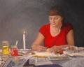 Jeanette  Korduba , Self portrait painting pysanky , November 2007 , Oil on canvas , 76cm x 61cm  Winner 2007 Lexus Mortimore Portrait Prize